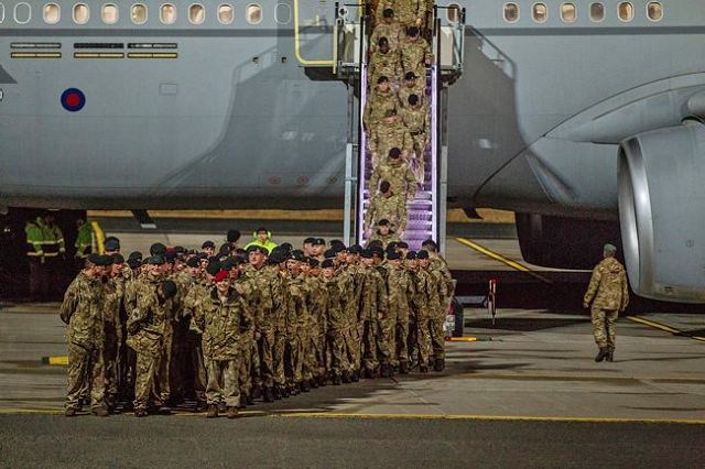 British soldiers from the 5th Battalion The Rifles Battlegroup (5 RIFLES), including members of an Armoured Engineer Squadron, Military Police Detachment, Artillery Group and Port Task Group, arrived at Amari airbase in Estonia, Saturday, March 18, 2017.