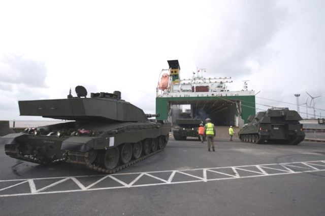 Friday, March 17, 2017, combat vehicles from 26th Regiment Royal Artillery, 35 Engineer Regiment and Challenger 2 MBT from the Queen's Royal Hussars, all based in Germany, are loaded at the port of Emden ahead of their NATO enhanced Forward Presence (eFP) deployment to Estonia. (Picture British MoD)