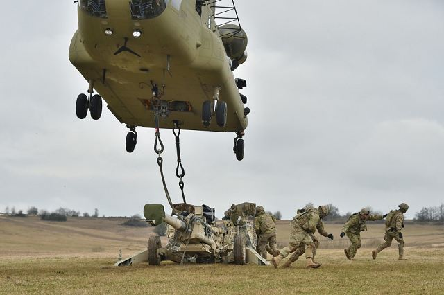 U.S. Soldiers, assigned to Cobra Battery, Field Artillery Squadron, 2nd Cavalry Regiment, conduct Sling Load Operations with support from the 12th Combat Aviation Brigade during Exercise Dynamic Front II at the 7th Army Training Command's Grafenwoehr Training Area, Germany, March 9, 2017.