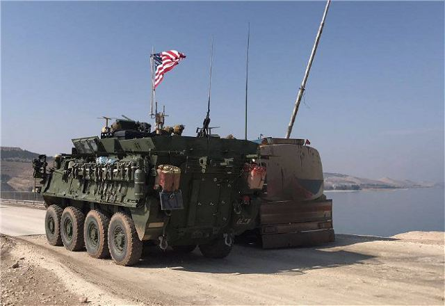 The United States have deployed troops with Stryker 8x8 armoured veicle and HUMVEE to the northern Syrian city of Manbij to support Kurdish troops in the area. A video footage from RT Ruptly shows the US troops traveling in a convoy on Saturday, February 4, 2017, around the city of Manbij in the Aleppo Governorate, Syria.