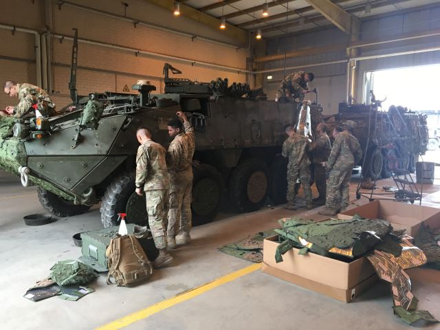 The U.S. Army´s 2nd Cavalry Regiment, stationed in Vilsek, Germany, is now evaluating Saab's Barracuda Mobile Camouflage System (MCS) on their Stryker fighting vehicles. This is the first field evaluation of the MCS conducted by the U.S. Army.