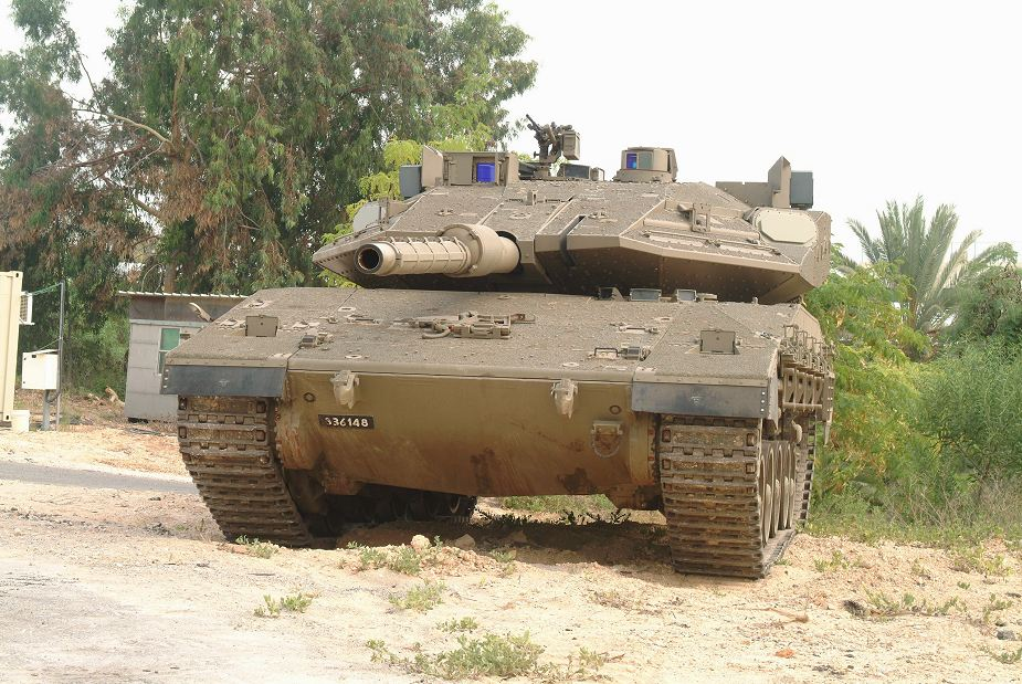 Merkava IV MBT tank fitted with Israeli made Trophy active protection system against guided missile and rocket 925 001