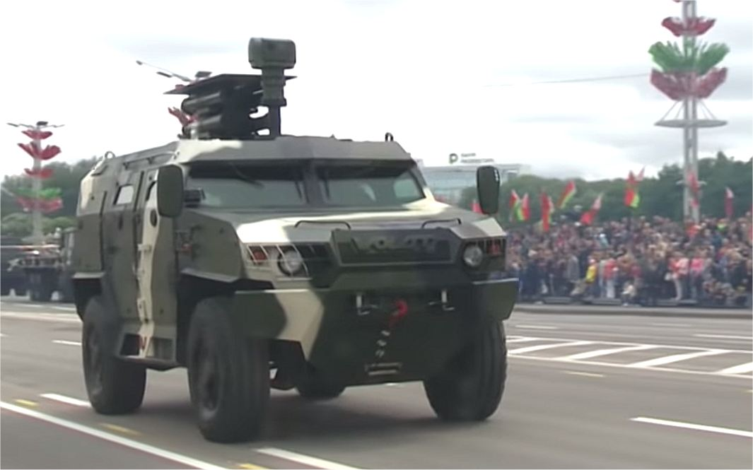 MZKT 490100 4x4 armored with Shershen ATGMs Belarus military parade 2018 Independence Day 925 001