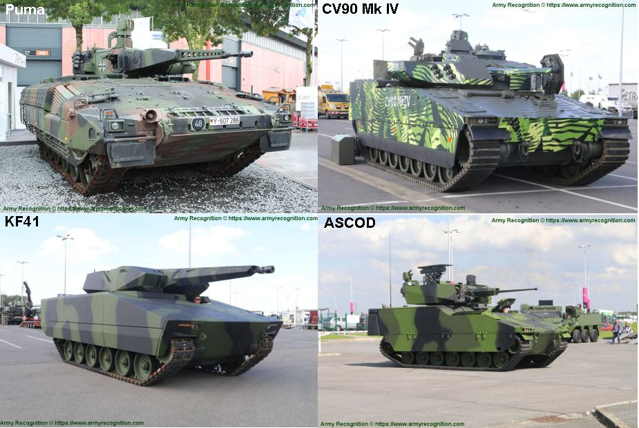 the four candidats to replace Czech BVP 2 IFV tracked armored 925 002