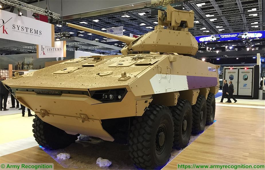 DIMDEX 2018 Al Wajbah VBCI 8x8 armored fitted with Kongsberg turret Protector 30mm cannon 925 001