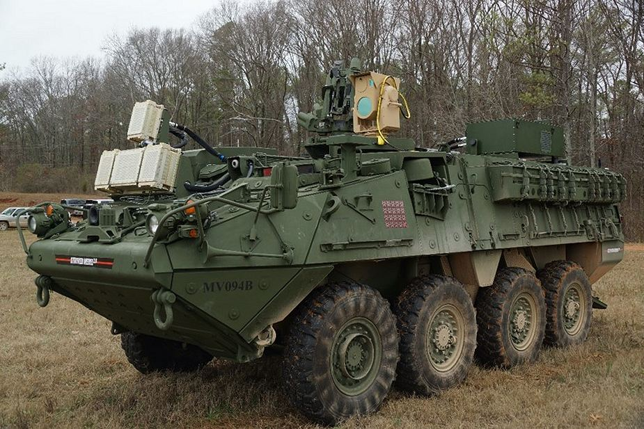 US soldiers ready to use laser weapon MEHEL mounted on Stryker armored 925 001