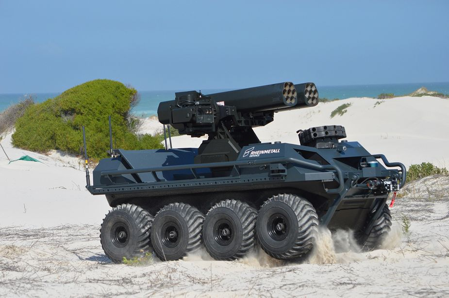 Rheinmetall Mission Master unmanned ground vehicle armed