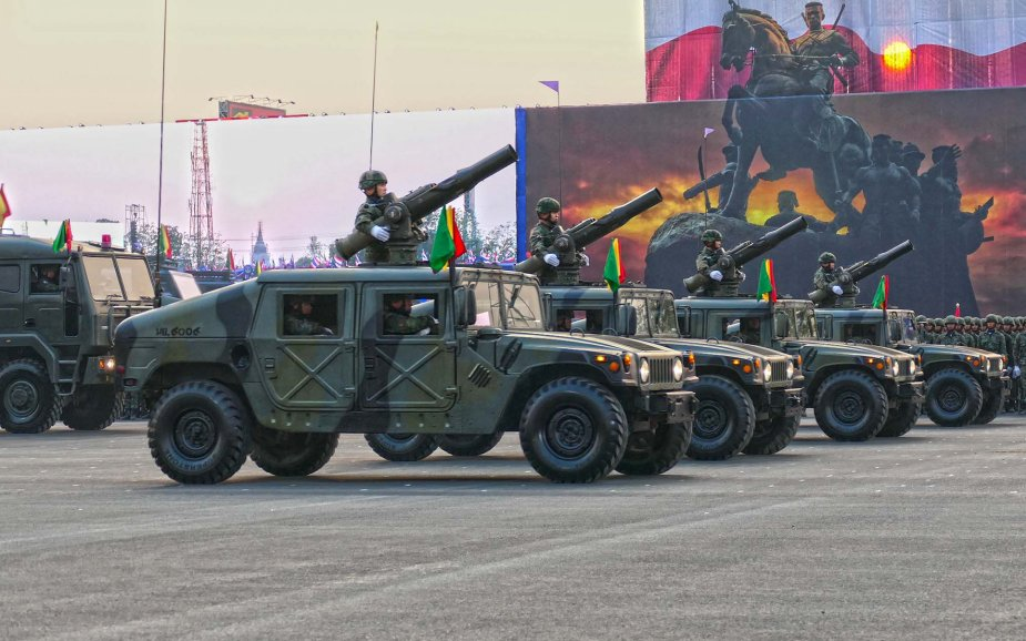 Military parade for Royal Thailand Army Day 7 Battlefield Defense