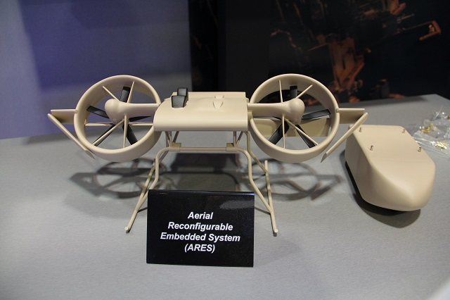 At AUSA 2014 (Association of United States Army) Annual Meeting currently taking place in Washington D.C., Lockheed Martin is showcasing the Aerial Reconfigurable Embedded System (ARES). It is a next generation of compact, high-speed vertical takeoff and landing (VTOL) delivery systems.