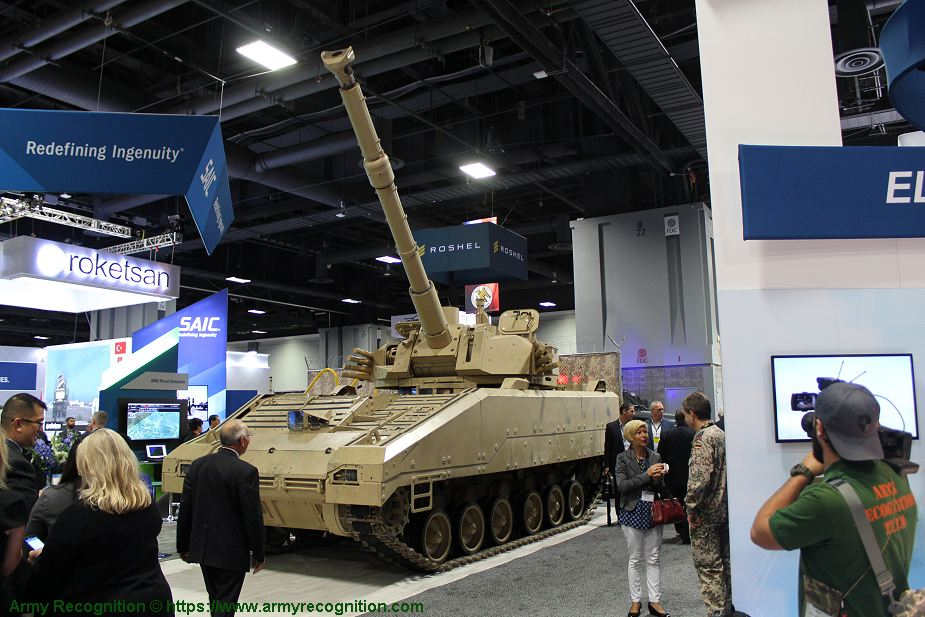 First public appearance of SAIC 105mm Light Tank MPF programme at AUSA 2018 United States Army defense exhibition 925 001