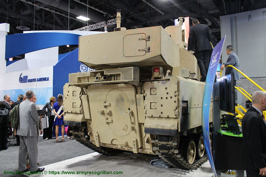 First public appearance of SAIC 105mm Light Tank MPF programme at AUSA 2018 United States Army defense exhibition 925 002