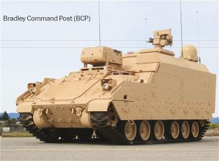 Bradley BCP Command Post tracked armoured vehicle data sheet specifications information description intelligence identification pictures photos images US Army United States American defence industry military technology