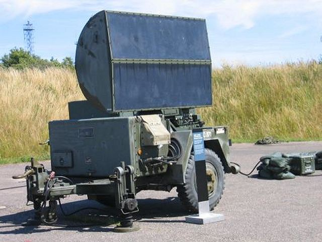 One Continuous Wave Acquisition Radar (CWAR): This X Band Continuous wave system AN/MPQ-55 is used to detect targets. The unit comes mounted on its own mobile trailer. The unit acquires targets through 360 degrees of azimuth while providing target radial speed and raw range data.