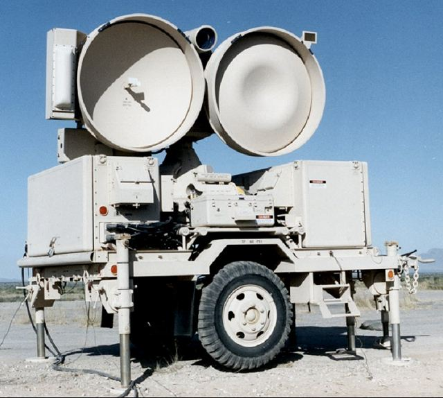 One HPIR High Power Illuminating Radar: The early AN/MPQ-46 High Power Illuminator (HPIR) radars had only the two large dish-type antennas side by side, one to transmit and one to receive. The HPIR automatically acquires and tracks designated targets in azimuth, elevation and range. It also serves as an interface unit supplying azimuth and elevation launch angles computed by the Automatic Data Processor (ADP) in the Information Coordination Centre (ICC) to the IBCC or the Improved Platoon Command Post (IPCP) for up to three launchers.