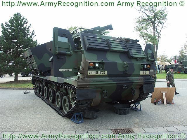 M270 MLRS MRLS Multiple Launch Rocket Launcher system technical data sheet specifications information description intelligence identification pictures photos images US Army United States American Lockheed Martin defence industry military technology