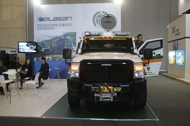 At ExpoDefensa 2015, the International Exhibition of Defense and Security which takes place in Bogota (Colombia), the Israeli Company Plasan displays the latest light 4x4 armoured vehicle delivered to the Colombian Police, the Sandcat.