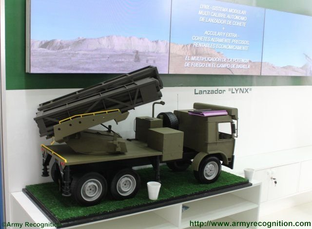 IMI promotes the Lynx multiple launch rocket missilesystem at SITDEF 2015 640 001