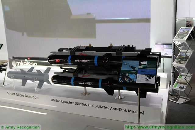 The Turkish Company Roketsan for the first time at SITDEF defense exhibition in Peru to promote its full range of rockets and missiles to South America military market as the laser guided anti-tank missile UMTAS (L-UMTAS) and new TRG-122 122mm guided rocket.