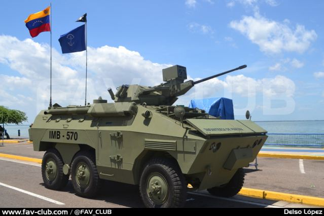 Venezuela has launched a modernization program for its Brazilian manufacturing 6x6 armoured vehicle personnel carrier EE-11 Urutu. The first prototype was showed in February 2013 to the military authorities of the country, and the July 24, 2013, the vehicle was presented to the public during the Navy Day of the Venezuela.